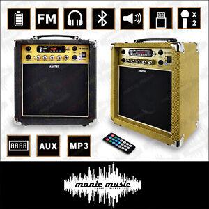 Guitar Amplifier 20W Rechargeable Bluetooth Amp USB FM Effects MP3 Mic AUX