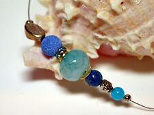 Achat Halbcollier Collier Kette Halsschmuck Halskette Blue Spirits