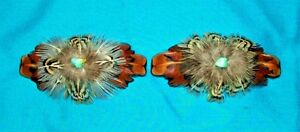 Set 2 Med Feathered Barrettes Pheasant Feathers & Turquoise FREE SHIPPING MBS03