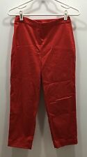 Ann Taylor Loft Pants Size 2 Red Cuffed Ankle Zipper Side Stretchy Capri EUC