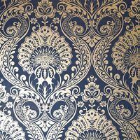 Luxe Papier Peint Damas en Marine Doré par arthouse 910308, Floral, Métallique