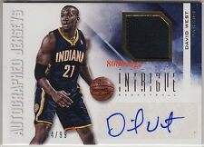 2012-13 PANINI INTRIGUE JERSEY AUTO: DAVID WEST #4/99 AUTOGRAPH HORNETS/PACERS