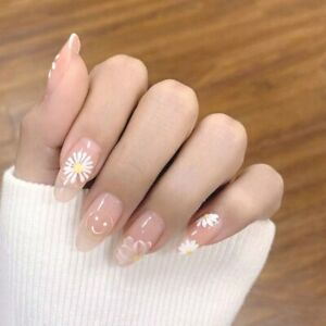 Clear Flower Pattern Fake Nails French Long Oval Full Artificial Press On Nails
