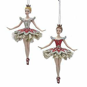 Set of 2 Ruby and Platinum Ballerina Ornaments w