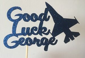 Personalised Glitter Good Luck In The RAF Cake Topper