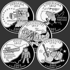 USA Quarter  Dollar Reine Serie 2002  5 Münzen #
