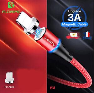 Chargeur Cable USB 2M magnétique Cordon Renforcé Pour iPhone 12/11/X/XS/XR/8/7