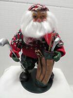 "Golfing Santa Claus Figurine 10"" TALL"