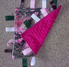 DOUBLE MINKY SECURITY TAG  BLANKET PINK TRUE TIMBER CAMO MINKY & ROSE  HANDMADE