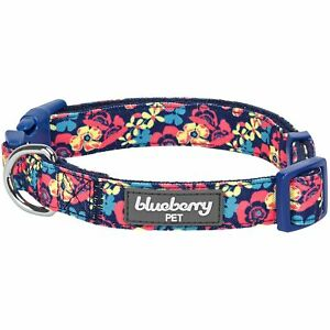 Blueberry Pet Spring Made Well Profound Floral Print Dog Collar in Navy, Larg...