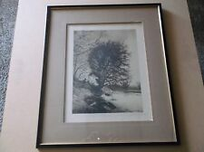 Original 1889 John H. Millspaugh Etching, Hand Signed,Framed-Quiet Lake Scene