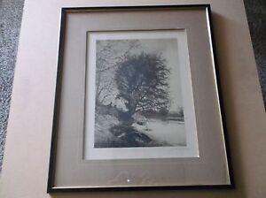 Original 1889 John H. Millspaugh Etching, Hand Signed,Framed-Quiet Lake Scene