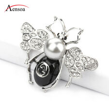 Fashion Women Brooches Enamel Pearl Czech Crystal Bee Insect Brooch Pins Jewelry