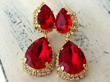 6.62 CT Pear Red Garnet Womens Large Drop Stud Earrings Over 925 Sterling Silver