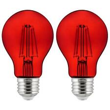 2-Pack Sunlite LED Transparent Red A19 Filament Bulbs, 4.5 Watts, Dimmable