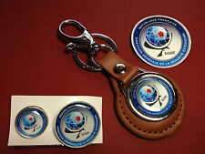 DGSE ( French Secret Police  Agency)  LEATHER KEY RING, TWO BADGES +  STICKERS