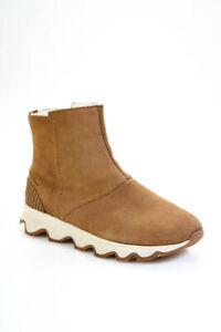Sorel Womens Shearling Suede Platform Mid Calf Boots Camel Brown Size 8