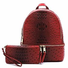 OS1062W Ostrich And Croc 2IN1 Fashion Backpack With Matching Wallet Set BURGUNDY