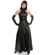New Black Genuine Leather Halter Dress Ruffle Skirt Corset Back Gown Leder Kleid