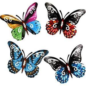 Metal Butterfly Wall Decor Colored Butterflies Wall Art Hanging Sculpture Garden