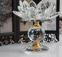 Home Candle Holders Tealight Stand Candlesticks Crystal Glass Decor Lotus Flower