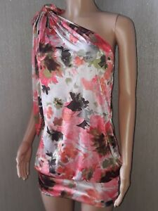 Miss Sixty one shoulder peach floral mini loose fit dress Med 10 12 BNWT SUMMER
