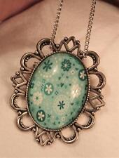 Blue Green Floral Pendant Necklace Brooch Festooned Silvertone Light & Dark Teal