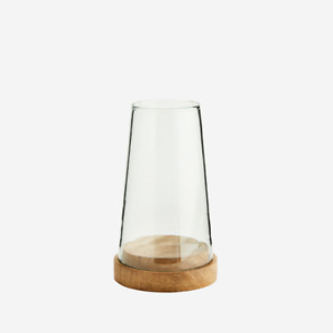 Glass Cone Hurricane Candle Holder With Open Top & Mango Wood Base by Madam S...