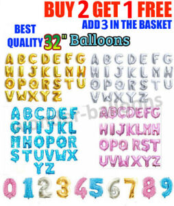 "LETTER Foil 32"" inch Balloons Air Balloons Large Happy Birthday Party Ballons UK"