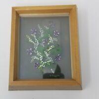Vintage B. Duggan 3D Purple Yellow Lilacs Framed Mirror Painted Wall Hanging