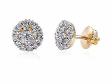 Pave 0.66 Cts Round Brilliant Cut Diamonds Stud Earrings In Fine 18K Yellow Gold