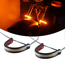 2x Bright Amber LED Fork Lights Turn Signal Strip Lamps For Motorcycle Universal