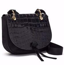NWT $495 Elizabeth and James Zoe Croc Embossed Leather Saddle Crossbody BLACK