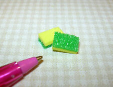 Miniature Kitchen Scrub Sponges (2) Yellow and Green, for DOLLHOUSE 1/12