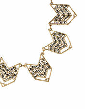 NEW NWT ACCESSORIZE CARA PEWTER GOLD COLOURED ZIG ZAG STATEMENT NECKLACE