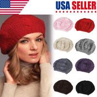 Women Beret Braided Baggy Knit Crochet Beanie Hat Ski Cap Ladies Winter Warm Cap