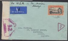 Nigeria 1941 airmail cover England PanAm Airways with KGVI 5/- Jebba stamp