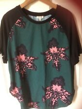 New tags,River Island top,size 12,short sleeve,black,green,pink floral,was £22