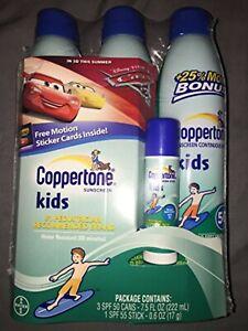 Coppertone Sunscreen Kids 50 SPF 3 PAck + 1 Stick 55 SPF