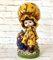 Big Bonnet Girl Ceramic Figure Statue Kitsch Vintage Handmade Flowers 1970's