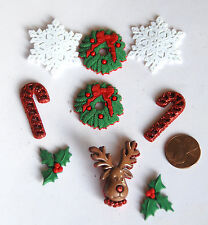 Deck the Halls / Dress It Up Christmas Buttons / Reindeer ~ Wreath~ Holly ~ Cane
