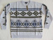 J.Crew U-Neck Abstract Fair Isle Sweater-Cloud Violet-Wool Blend-Size XL-NWT $98
