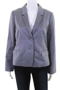 J Crew Womens V Neck Long Sleeve Collared Blazer Gray Cotton Size 10
