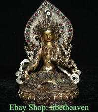"7.4"" Rare Old Tibetan Silver Filigree Gems Temple Green Tara Goddess Sculpture"