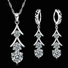 925 Silver CZ Stone Long Tassel Pendant Necklace And Earring Jewellery Gift Set