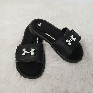 Under Armour 4D Foam Flip Flop Slide Sandals Black Neon Youth Kids Size 1Y VGUC