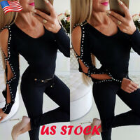 US Womens Rhinestone Cut Out Long Sleeve T Shirt Ladies Casual Party Tops Blouse