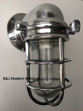 Vintage Industrial Wall Light Silver Aluminium Bulkhead Marine Nautical Lamp Old