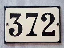 VINTAGE HOUSE NUMBER SIGN Enamel steel metal door plate plaque 372 Beige Black