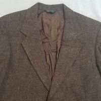 KUPP Kuppenheimer 40 Long Tweed Wool Herringbone Brown Sport Coat Jacket